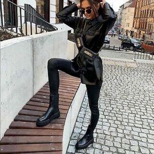 Zara - flat platform leather ankle boots